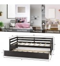 Giantex Wood Daybed with a Trundle, Twin Trundle Daybed with Durable Slat Support, Easy Assembly - No Box Spring Needed, Standard Twin Bed Sofa for Living Room Guest Room Children Room (Espresso)