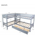 Twin Over Twin Bunk Bed with Drawers, Wood L-Shaped Bunk Bed Twin Size Bunk Bed Frame for Kids/Teens, No Box Spring Needed (Grey, Twin Bunk Bed with Drawers)