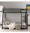 Metal Floor Bunk Bed, Twin Over Full Low Bunk Bed, Heavy Duty Frame with Sloping Ladder and Safety Guardrails for Kids Teens Adults, No Box Spring Needed (Black)