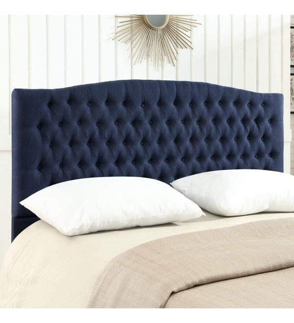 24KF Linen Upholstered Tufted Button King Headboard and comforrtable Fashional Padded King/California King Size headboard - Navy Blue