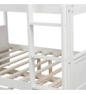 SOFTSEA Full Over Full Bunk Bed with Twin Size Trundle and Ladder, Convertible to Separate 2 Beds, Full-Length Safety Guard Rail, Wood Bunk Bed for Kids Adults (White Full Over Full)