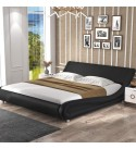 Allewie King Size Modern Platform Bed Frame with Curved Headboard, Faux Leather Fully Upholstered / Strong Wooden Slats Support / Mattress Foundation with Adjustable headboard, Black