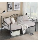 VECELO Premium Daybed Metal Bed Frame Twin Size Steel Slat Support/Strong Legs Headboard/Mattress Foundation, Multi-Functional Furniture, Classic Black