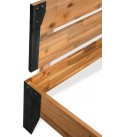 Bed Frame Solid Acacia Wood Steel, High Metal and Wood Platform Bed Stable and Durable, Brown 59.8