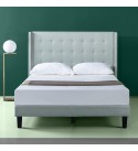 ZINUS Kendra Upholstered Platform Bed Frame with Wingback Headboard / Mattress Foundation / Wood Slat Support / No Box Spring Needed / Easy Assembly, Queen