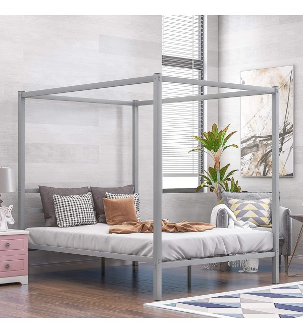 Taghua Metal Framed Canopy Platform Bed with Built-in Headboard, Four Poster Platform Bed Frame, No Box Spring Needed, Classic Design, Queen, Sliver