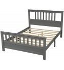 Wood Platform Bed with Headboard and Footboard, Full Size, Solid Wood Platform Bed Frame Mattress Foundation with Slatted Headboard Footboard and Wood Slat Support, No Box Spring Needed Full (Grey)